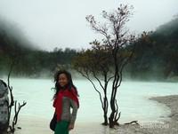 Kawah Putih dengan air danau yang berwarna putih dengan kepulan asap di atasnya. Cantik!