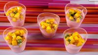 Strawberry Mousse with Mango Compote