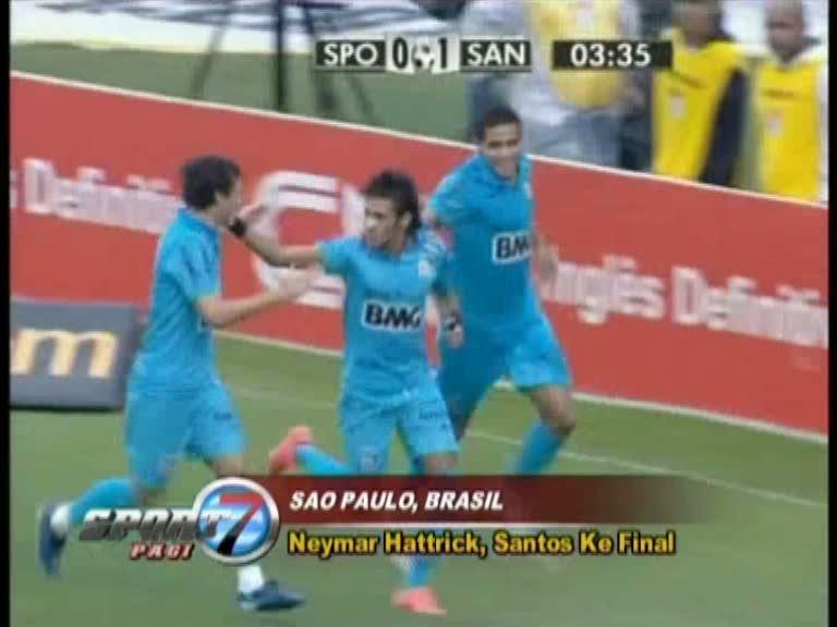 Neymar Hattrick, Santos ke Final