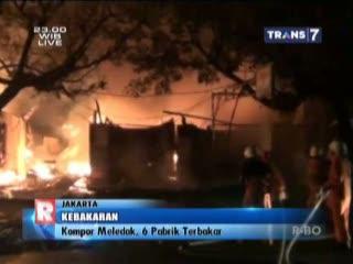 Kompor Meledak, 6 pabrik Terbakar