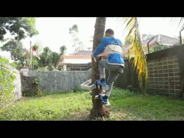 Praktisnya Alat Pemanjat Pohon Kelapa Ciptaan Siswa SD