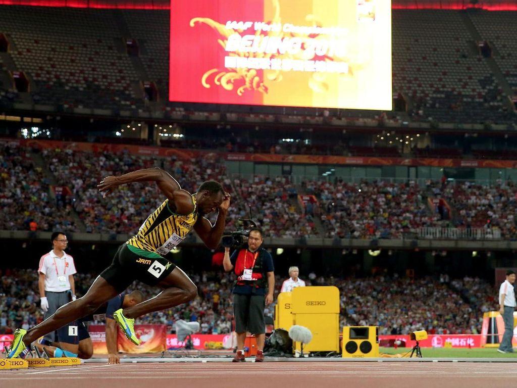 Karena kecepatannya Bolt mendapatkan julukan Lightning Bolt. Dia adalah manusia tercepat di bumi. (Getty Images)