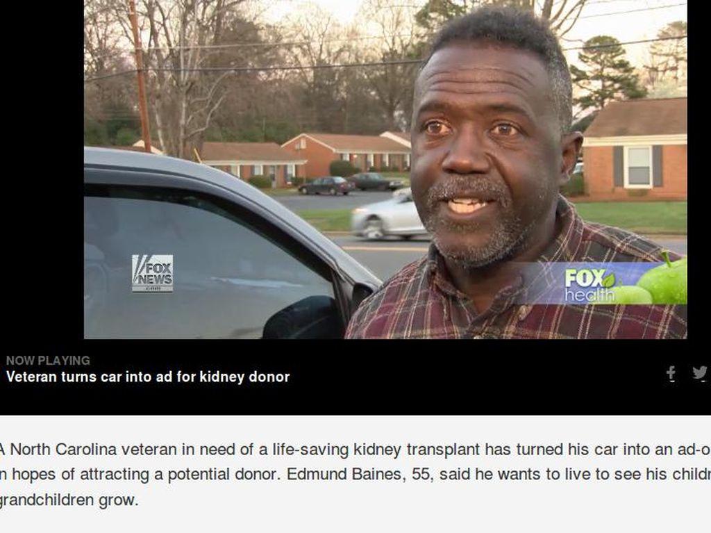 Kisah Kakek Jadikan Mobilnya 'Iklan Keliling' Demi Dapat Donor Ginjal