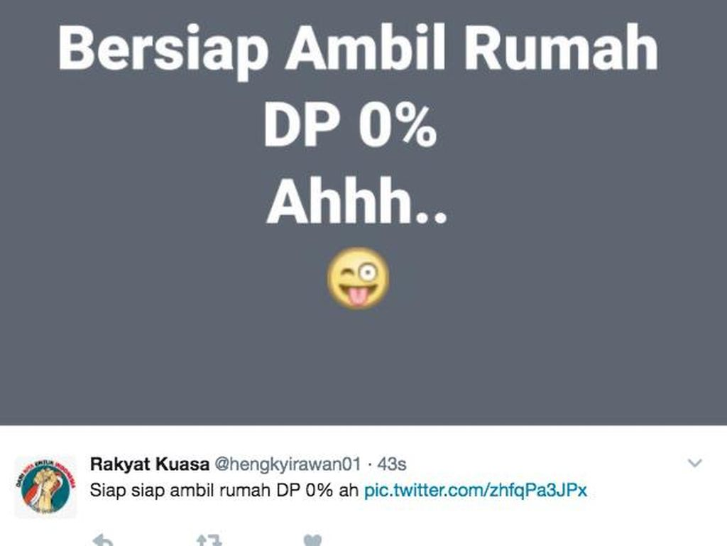 Netizen lain banyak pula yang memposting soal DP 0%, merujuk pada program DP rumah nol rupiah Anies-Sandi. Foto: istimewa