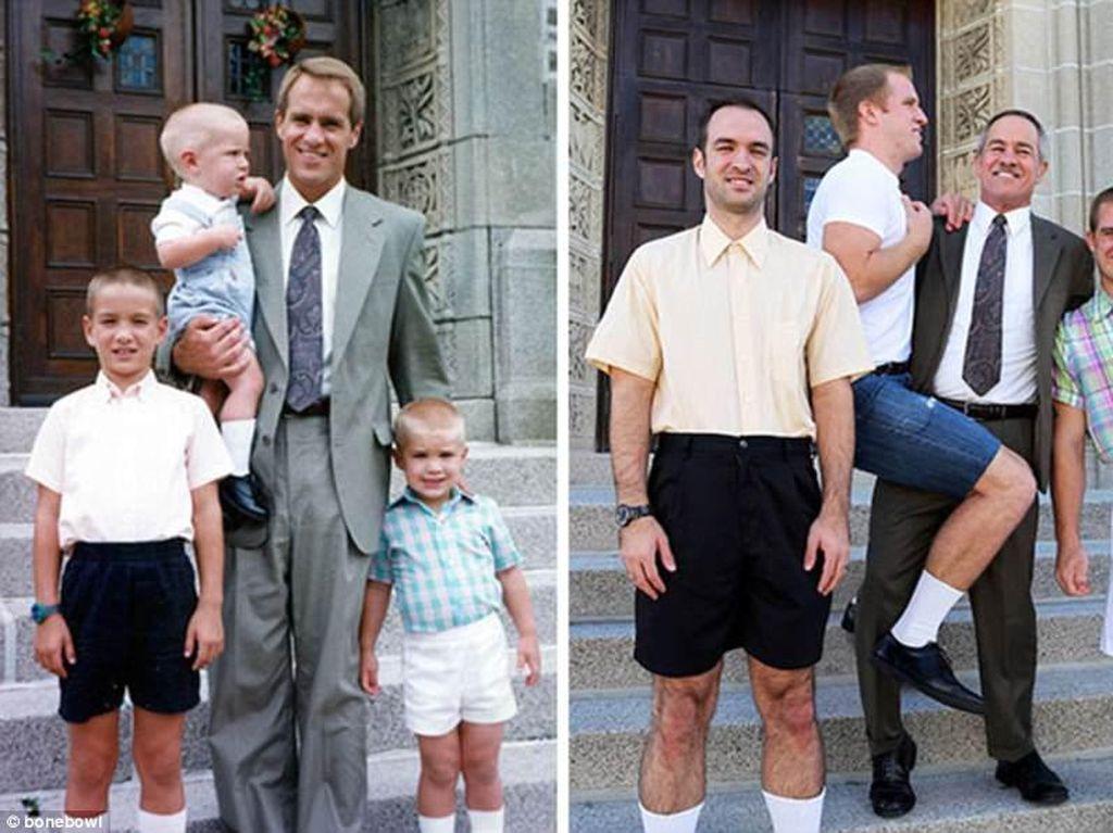 Bukti sang ayah meski anak-anaknya sudah tumbuh dewasa, ia masih bisa melakukan adegan ulang foto yang sama ketika ia menggendong sang anak. (Foto: Internet)