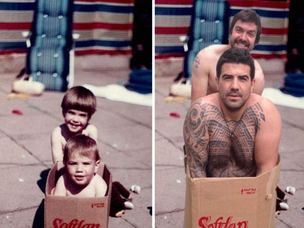Kakak adik ini memotret ulang foto mereka masih kecil bahkan sampai merk kardusnya pun sama persis. (Foto: Internet)