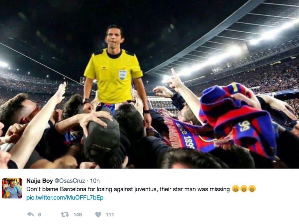 Memang saat pertandingan melawan PSG, Barca dituding diuntungkan wasit. Foto: istimewa