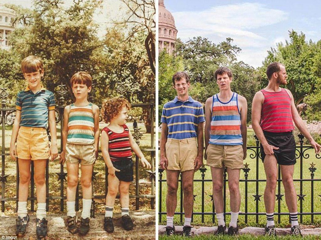 Ketiga bersaudara ini niat banget mengenakan baju garis-garis dengan latar belakang yang sama persis saat mereka foto di waktu mereka masih kecil. (Foto: Internet)