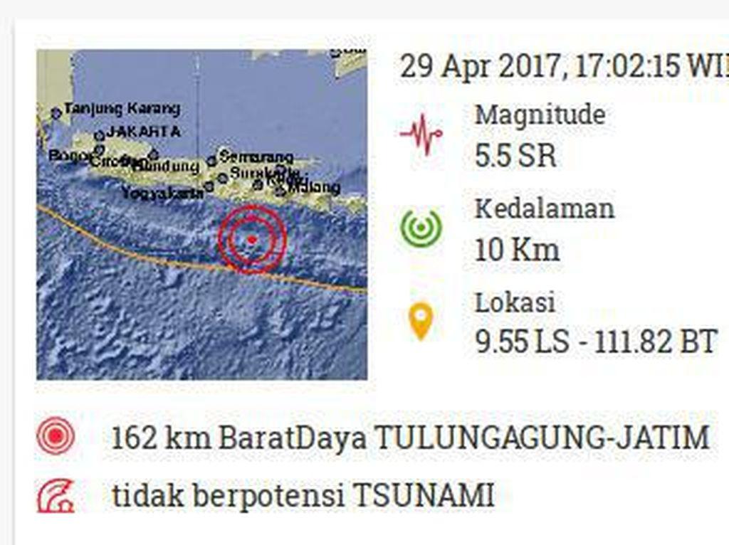 Blitar Diguncang Gempa 5,5 SR