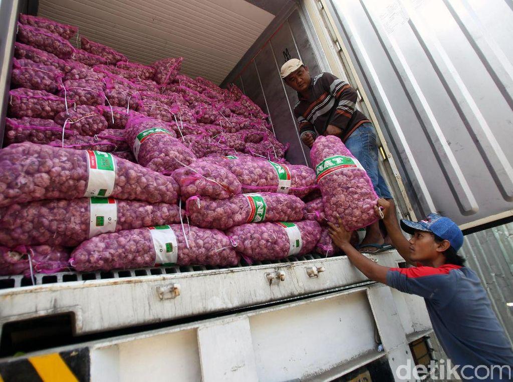 Sedikitnya ada 2 kontainer bawang putih yang memasok bawang putih impor ke Pasar Induk Kramat Jati, Jakarta Timur setiap harinya. Bawang putih impor tersebut dijual ke pedagang seharga Rp 25.000 per kg dan dijual lagi kepada masyarakat Rp 30.000 per kg.