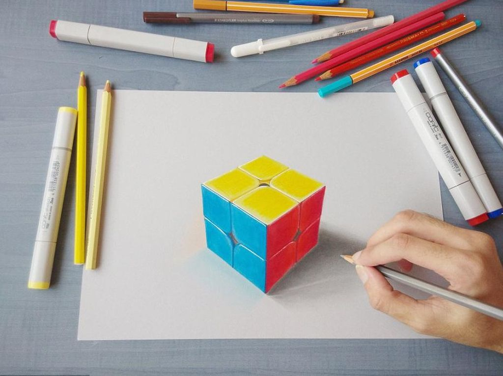 Kreatif! Goresan Pensil Hasilkan Lukisan 3D Menawan