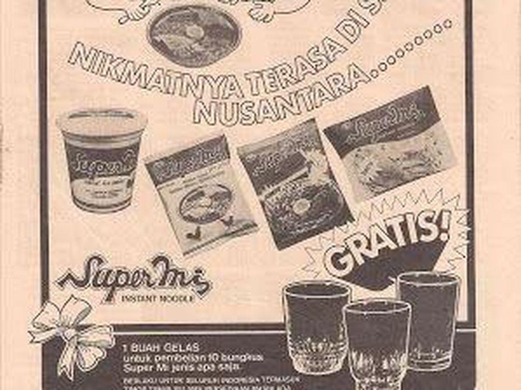 Selain Indomie, ada juga iklan dari Supermie yang juga tawarkan hadiah gelas. Rasa nusantara setia jadi tagline nya.