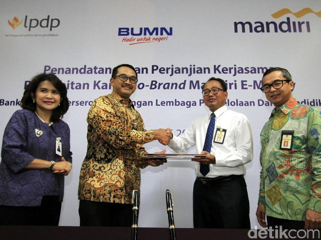Bank Mandiri dan LPDP Kerja Sama Penerbitan Uang Elektronik
