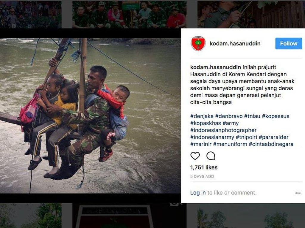 Pada Senin, 7 Agustus 2017, kita mendapat kisah soal Serka Darwis, seorang Babinsa di Desa Maroko, Kolaka Utara, Sulawesi Utara. Dia beraksi menyeberangkan anak-anak sekolah di atas Sungai Rante Angin hanya memakai tali sling dan papan sederhana. Kodam XIV Hasanuddin yang pertama kali mengangkat kisahnya lewat Instagram (dok Instagram)