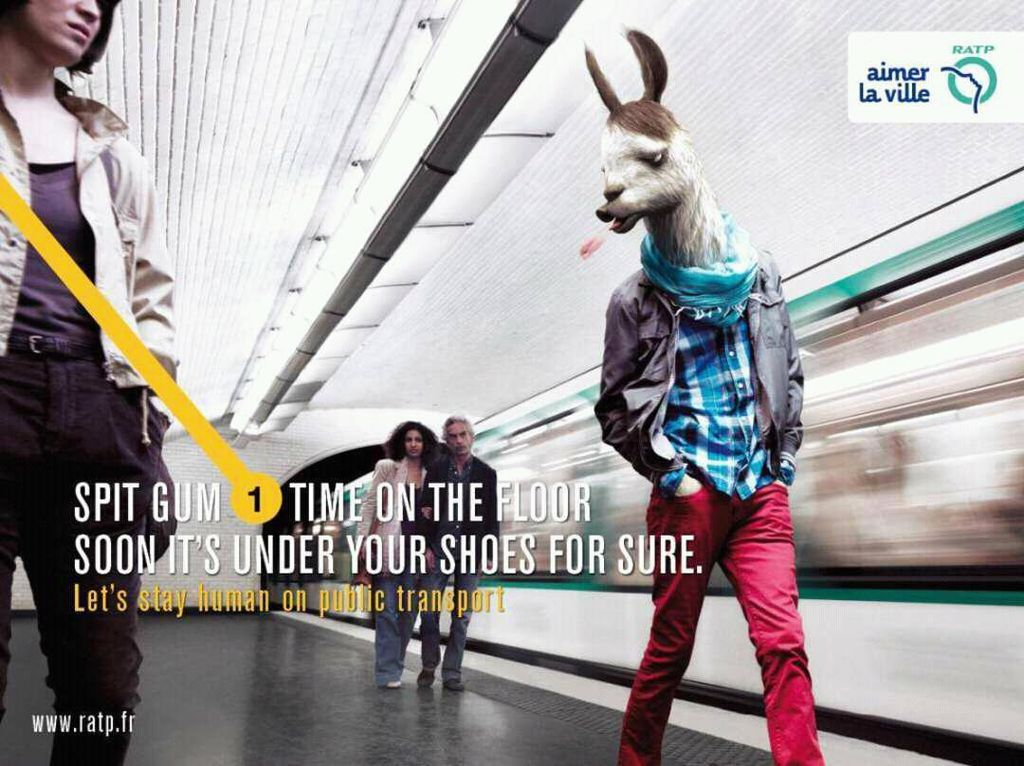 Meludah sembarangan digambarkan seperti perilaku hewan Llama. Foto: ratp.fr