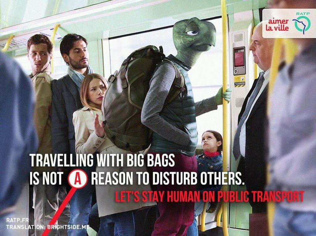 Pakai tas besar serasa jadi kura-kura yang batoknya mengganggu orang lain. Foto: ratp.fr