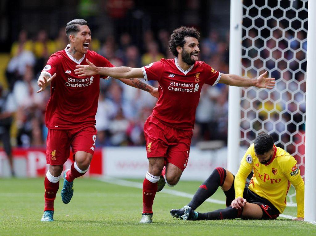 Mohamed Salah membawa Liverpool berbalik unggul 3-2 di menit ke-57 lewat gol sundulannya (Foto: Action Images via Reuters / Andrew Couldridge)