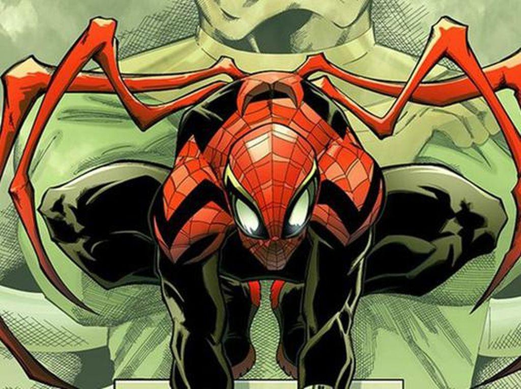 Dinamai Superior Spider-Man, dikatakan Doktor Octopus memanfaatkan tubuh Peter Parker yang telah sekarat untuk diimplan dengan pikirannya. Kostum ini hadir di tahun 2013. Foto: istimewa
