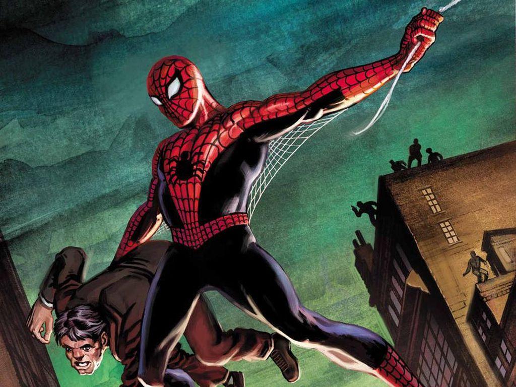 Bisa dibilang ini adalah kostum orisinil Spider-Man. Ada semacam sayap kecil di bawah lengan. Dibuat tahun 1962 oleh Steve Ditko. Foto: istimewa