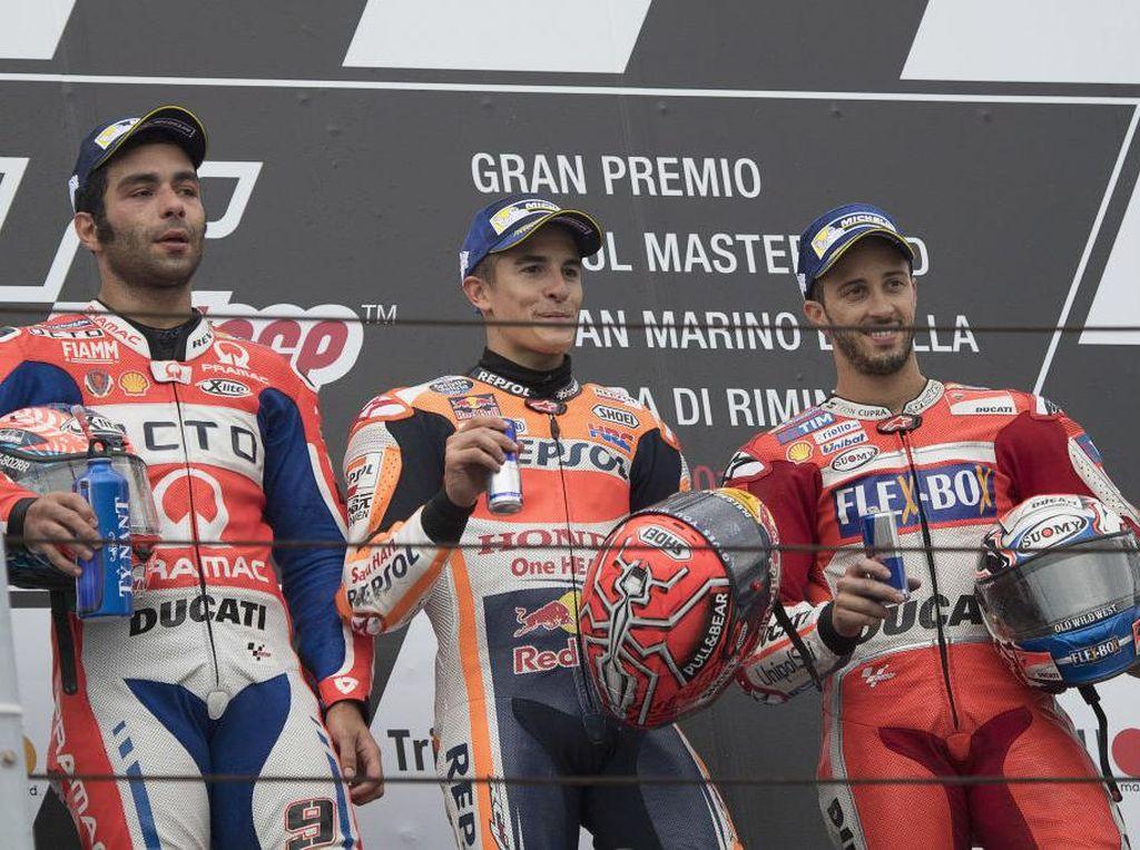 Podium MotoGP San Marino 2017: Marc Marquez, Danilo Petrucci, Andrea Dovizioso. (Photo by Mirco Lazzari gp/Getty Images)