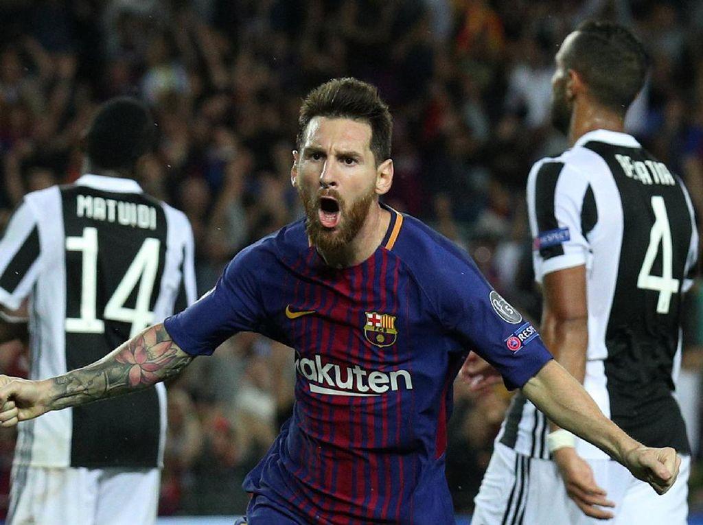 Messi langsung merayakan golnya itu dengan penuh semangat. Foto: Albert Gea/Reuters