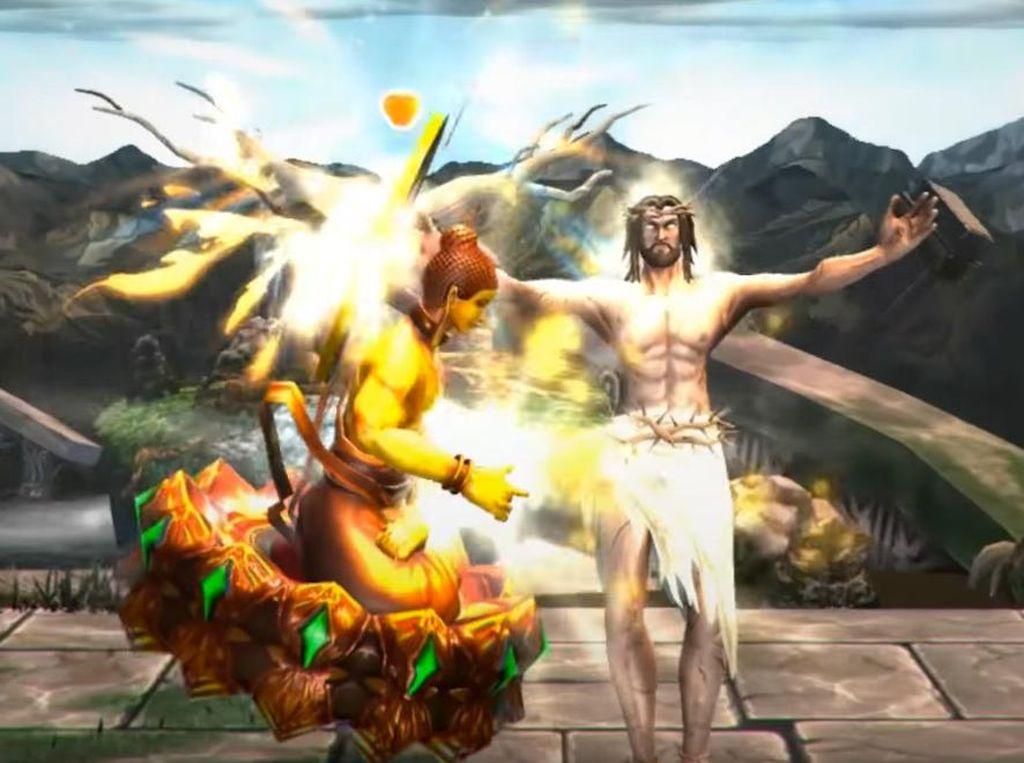 Untuk semakin mendukung suasana pertarungan, developer menghadirkan latar tempat bertarung yang diambil dari mitologi dewa terkait, seperti Gunung Olimpus dan Taman Eden, misalnya. Foto: Screenshot Fight of Gods