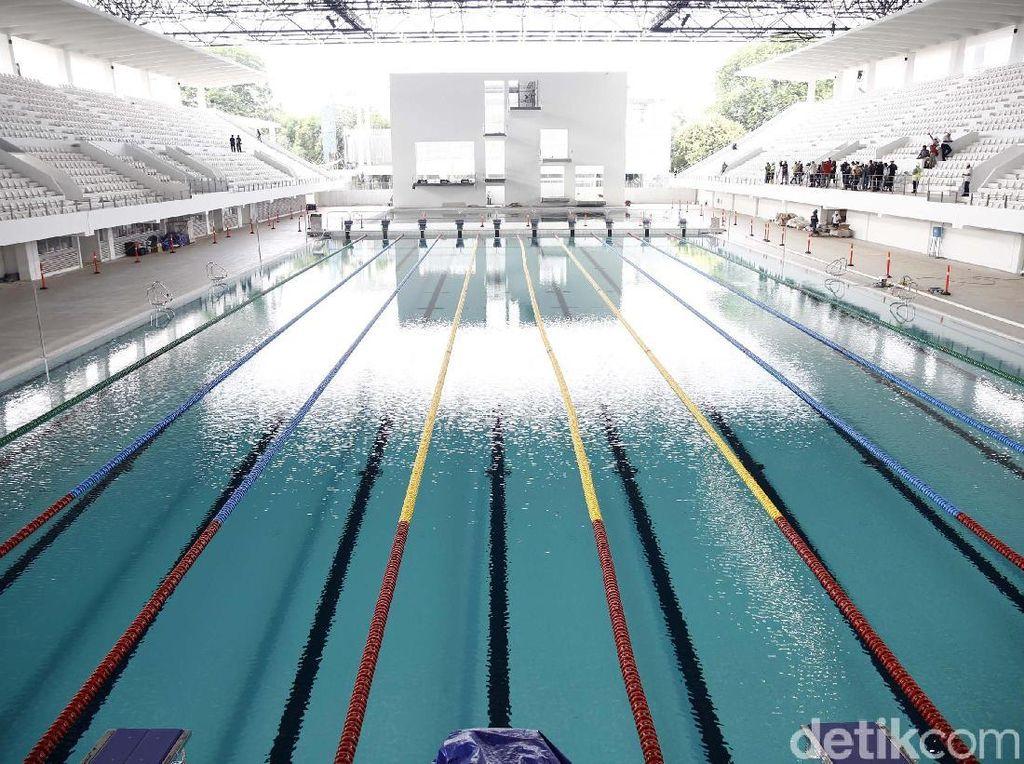 Ini penampakan kolam utama di Stadion Akuatik GBK yang memiliki ukuran 50 meter x 23 meter dengan kedalamannya 3 meter.