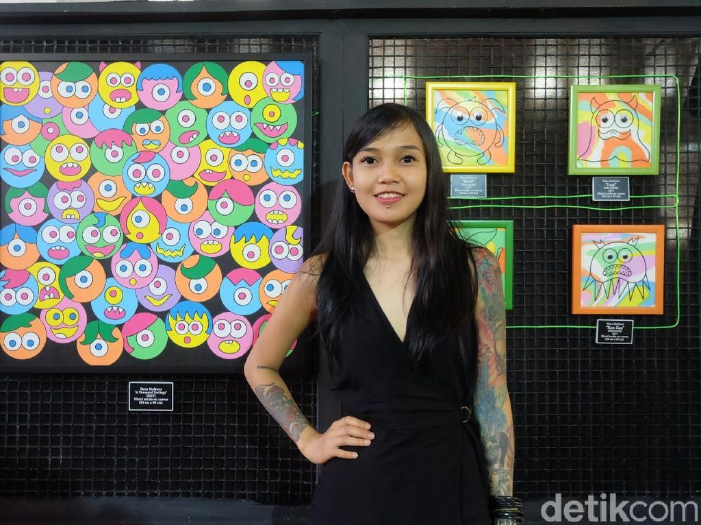Nama Hana Madness terbilang baru di ranah seni. Namun, doodle-doodle ciptaan perempuan yang mengalami gangguan bipolar itu dikenal ke penjuru kota di Tanah Air. Foto: Tia Agnes/ detikHOT