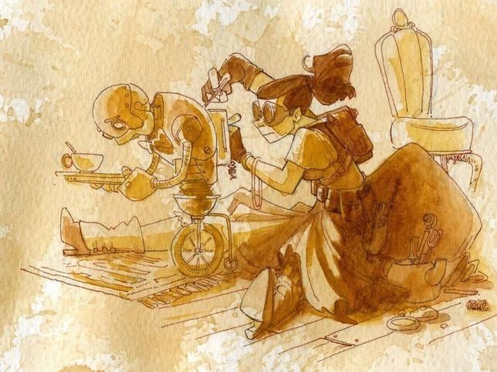 Wah, Lukisan Keren Bertema Steampunk Ini Digambar dari Air Teh!